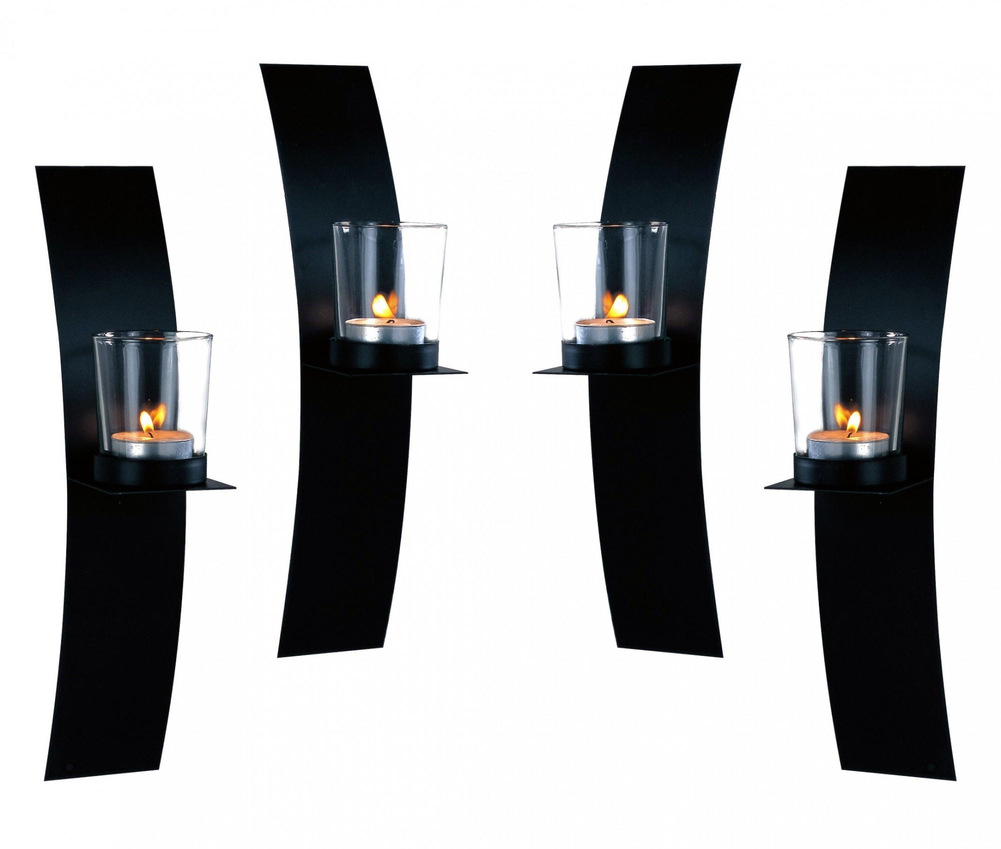 wand kerzenhalter 4er set schwarz teelicht wandkerzenhalter wandleuchter metall ebay. Black Bedroom Furniture Sets. Home Design Ideas